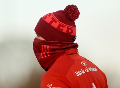Rory Scannell pictured during a Munster training session yesterday at the University of Limerick.