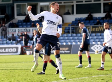 James Tavernier celebrates after scoring for Rangers against Ross County.