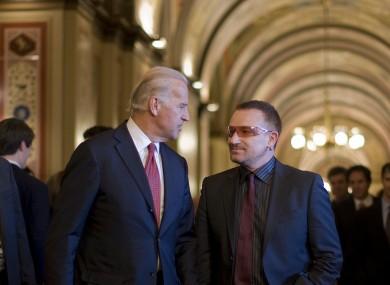 Biden with Bono on Capitol Hill in Washington, 2007