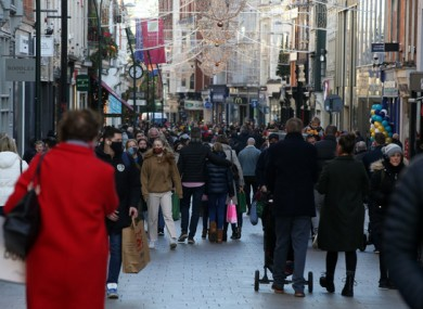 Shoppers on Grafton Street earlier this morning