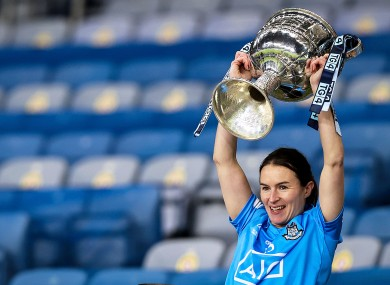 Dublin's Sinead Aherne lifts the trophy.