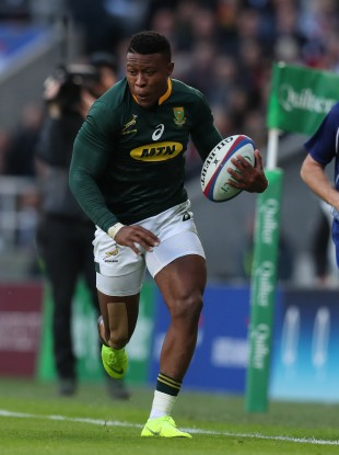 Aphiwe Dyantyi in action for South Africa at Twickenham in 2018.