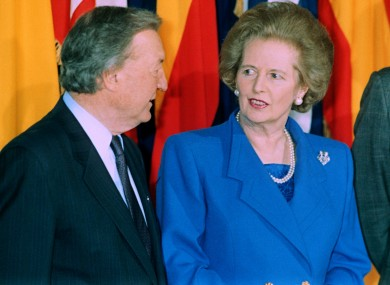 Charles Haughey and Margaret Thatcher in April 1990.