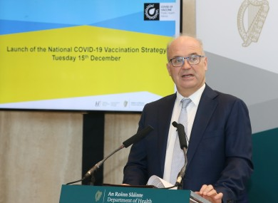 Dr Tony Holohan at the launch of the national vaccination strategy yesterday
