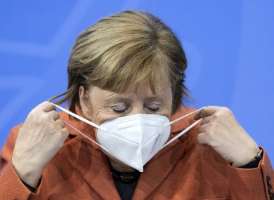 Angela Merkel before a press conference today in Germany.