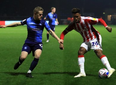 Wycombe Wanderers and Ireland winger Daryl Horgan (left) with Stoke City's Tyrese Campbell.