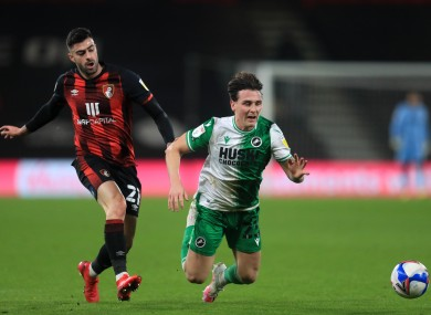 Danny McNamara is fouled by Bournemouth's Diego Rico.