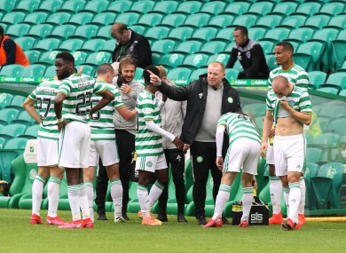 Celtic boss Neil Lennon and his players (file photo).