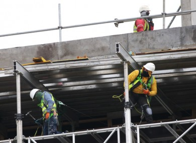 Builders working at the National Children's Hospital in Dublin.