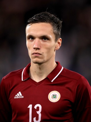 File photo of Jurkovskis playing for Latvia in an U21 International against England in 2019.