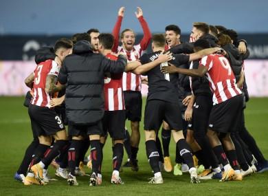 Bilbao players celebrate the victory.