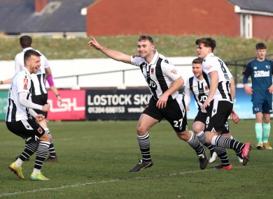 Connor Hall, centre, was on target as Chorley reached the FA Cup fourth round.