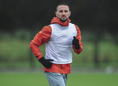 Straight in: Conor Hourihane in training with Swansea City.