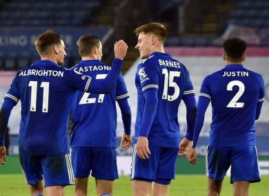 Leicester players celebrate Harvey Barnes' goal against Southampton.