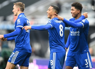Youri Tielemans celebrates after his goal for  Leicester.