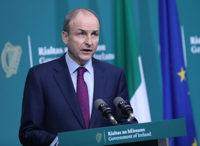 Taoiseach Micheál Martin speaking at a press conference about the report yesterday.