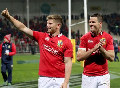 Owen Farrell and Johnny Sexton in New Zealand on the 2017 Lions tour.