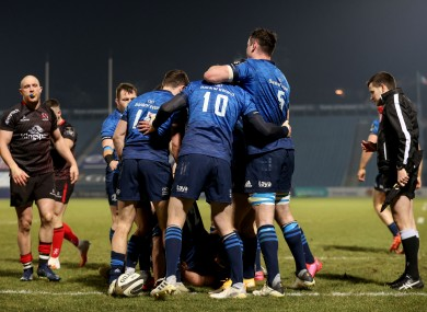 Leinster celebrate during their bonus-point win.