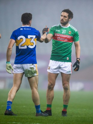 Tom Parsons commiserates with Philip Austin following Mayo's win over Tipperary last month.
