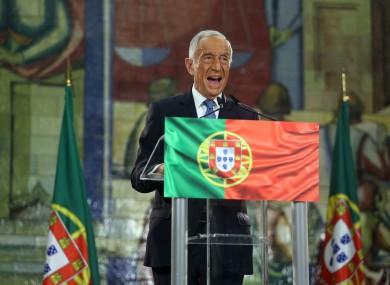 Marcelo Rebelo de Sousa gives his victory speech.