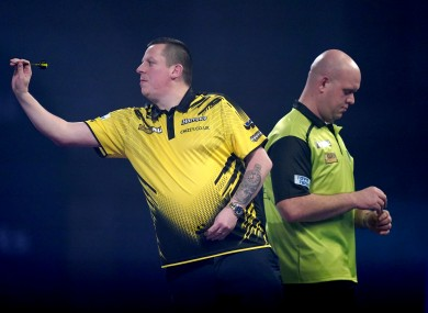 Dave Chisnall en route to a resounding victory over Michael van Gerwen this evening at Alexandra Palace.