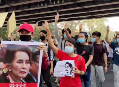 Protesters in Yangon today