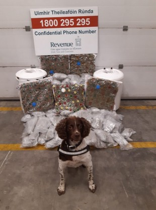 Detector dog Robbie with the drugs seized