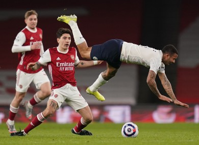 Arsenal's Hector Bellerin trips Manchester City's Gabriel Jesus during the clash at the Emirates Stadium.