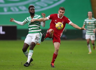 Celtic goalscorer Odsonne Edouard tangles with Aberdeen defender and former Ireland U21 captain Tommie Hoban.