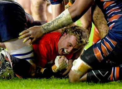 Munster's Craig Casey scores a try.