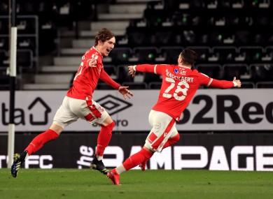Nottingham Forest's James Garner celebrates scoring.