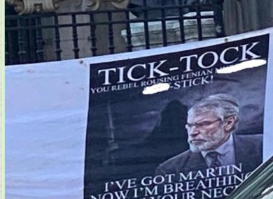 The banner which appeared on Saturday.
