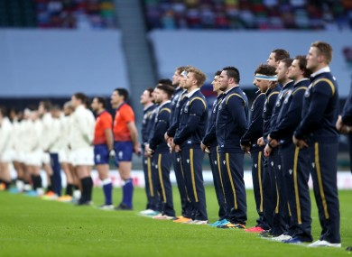 Scotland players socially distance during the national anthems.