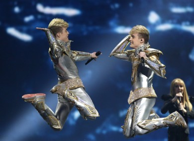 Jedward performing at the 2012 contest.