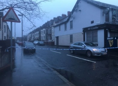 A police cordon off the Cliftonville Road in Belfast.