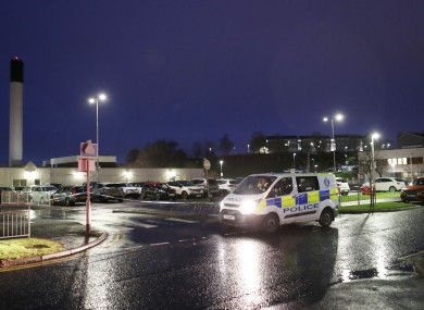 A police vehicle in the grounds of University Hospital Crosshouse, near Kilmarnock, which has been lifted out of lockdown