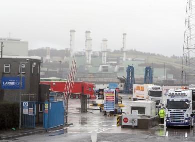 Trucks leaving Larne Port in Northern Ireland.