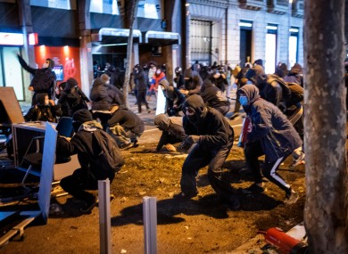 Demonstrators clash with police in Spain yesterday