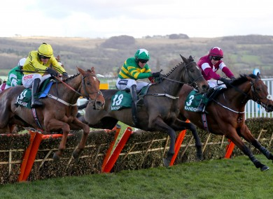 Saint Roi, centre, will miss the Cheltenham Festival.