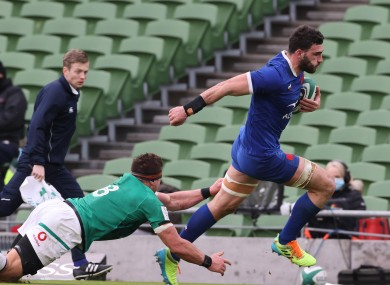 Charles Ollivon scoring a try against Ireland earlier this month.