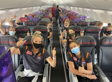 GWS Giants players - team-mates of Cora Staunton and Bríd Stack - flying back to Sydney after the Western Australia lockdown.