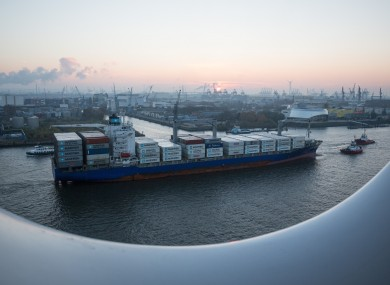The Maersk Nimes, seen here in Hamburg, Germany, was at the centre of the Irish anti-drug gang operation.