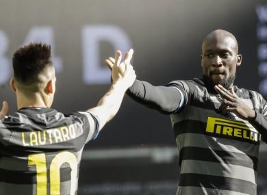 Inter Milan's Romelu Lukaku celebrates.