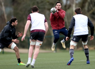 Carbery in training at UL yesterday.