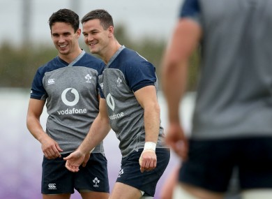 Joey Carbery and Johnny Sexton on Irelan duty in 2019.