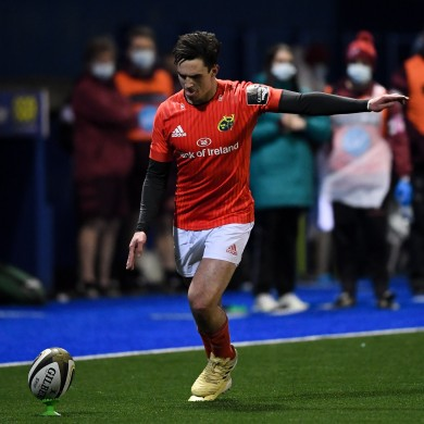 Munster's Joey Carbery kicks a conversion late in the game.