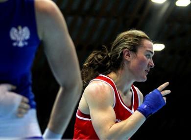 Kellie Harrington celebrates winning on her return to competitive action in Bulgaria.