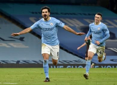 Manchester City's Ilkay Gundogan celebrates scoring.