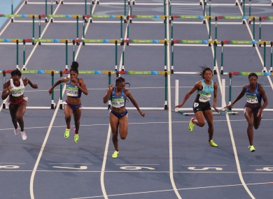 File photo. Women competing in the 100m hurdles final in Rio 2016.