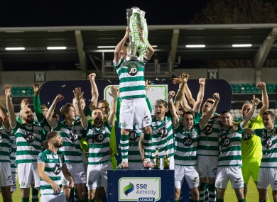 Shamrock Rovers lift the Premier Division title last year.